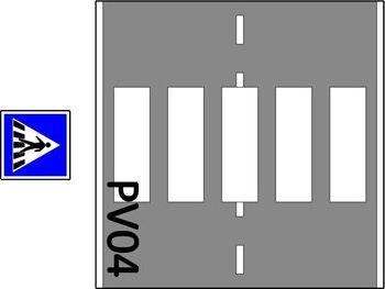 2 Baansweg met zebra en 1 verkeersbord -636
