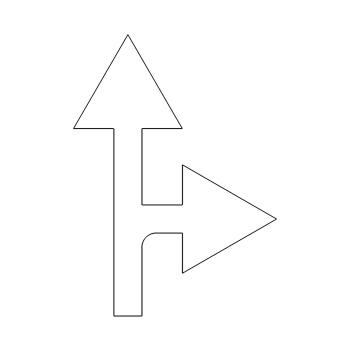Pijl rechtdoor/rechtsaf -606